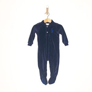 Ralph Lauren Velvet Navy Blue Footie Onesie Outfit